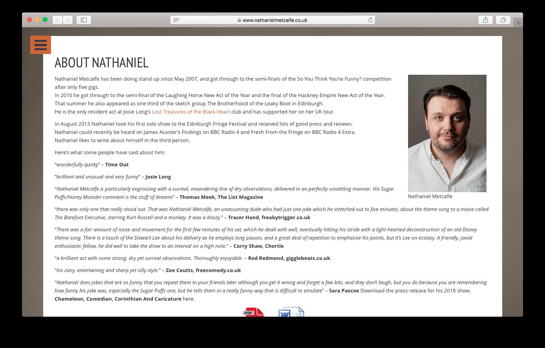 Websites - Nathaniel Metcalfe